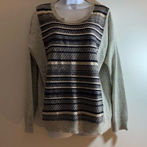 J. Crew Textured Navy Gray Striped Sweater
